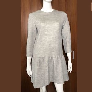 COS Sz Medium Wool Blend Gray Low Drop Waist Dress